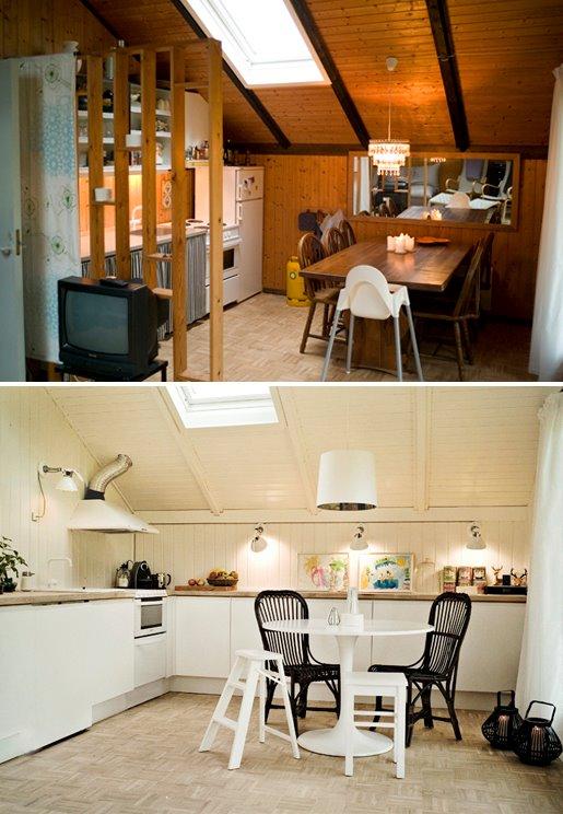 Ny indretning af køkken, som er blevet praktisk og åbnet rummet op. Udover indretningen har de lyse vægge og loftet givet luft og lys til rummet.